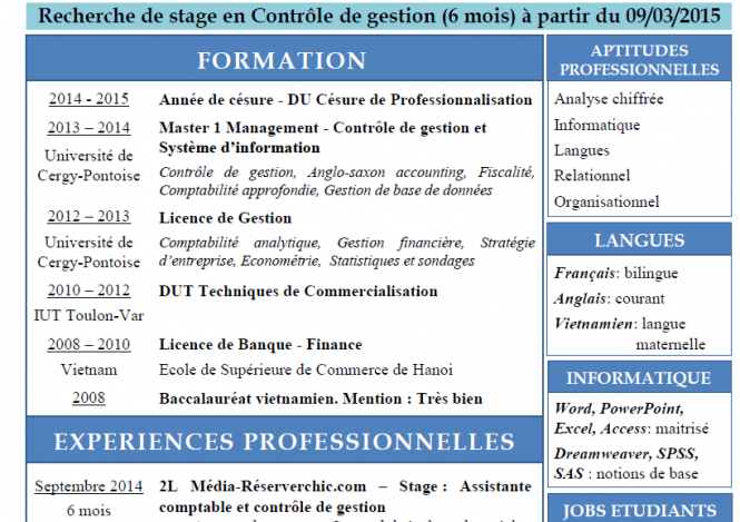recherche de stage de 6 mois en contr u00d4le de gestion  u00e0 partir du 9 mars 2015