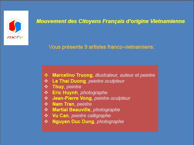 Bonne année 2015 ! Diaporama d'œuvres d'artistes franco-vietnamiens projeté à la fête du MCFV le 27-12-2014