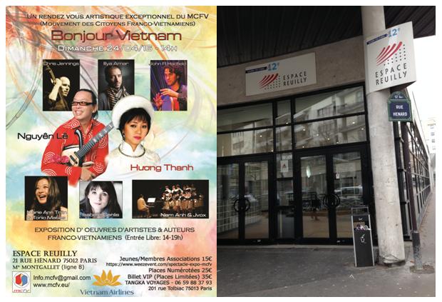 Echos et images de l'événement du MCFV du 24 avril 2016 'Bonjour Vietnam' (spectacle & exposition de tableaux, photographies et livres) avec des artistes et auteurs franco-vietnamiens,  Espace Reuilly – Paris