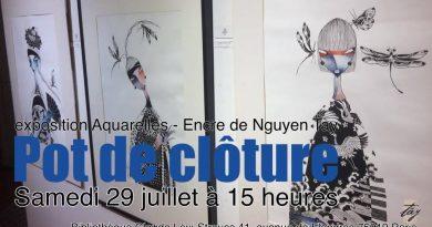 Samedi 29 juillet 2017, 15h-17h30 : Pot de Clôture de l'exposition de Nguyen Tay – Aquarelles & Encres – Fin jeudi 3 août, Bibliothèque Claude Lévi-Strauss, Paris 19e