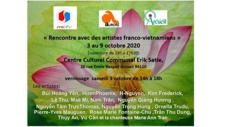 Exposition d'œuvres de 16 artistes d'origine vietnamienne du 3/10 (vernissage avec chants et arts martiaux) au 9/10/2020 (Arcueil 94) organisée par Aurore et le MCFV. Catalogue en ligne