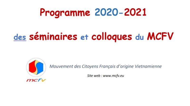 Programme 2020-2021 évolutif des séminaires et colloques (à distance en visioconférence ou pas) organisés par le MCFV