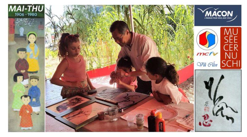 2-10-2021 à 15h, atelier de calligraphie animé par Vũ Ngọc Cẩn, président du MCFV, dans le cadre de l'exposition Mai-Thu au musée des Ursulines à Mâcon : complet